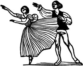 wood-engraving original print: Dancers for Mountains and Molehills by Frances Cornford